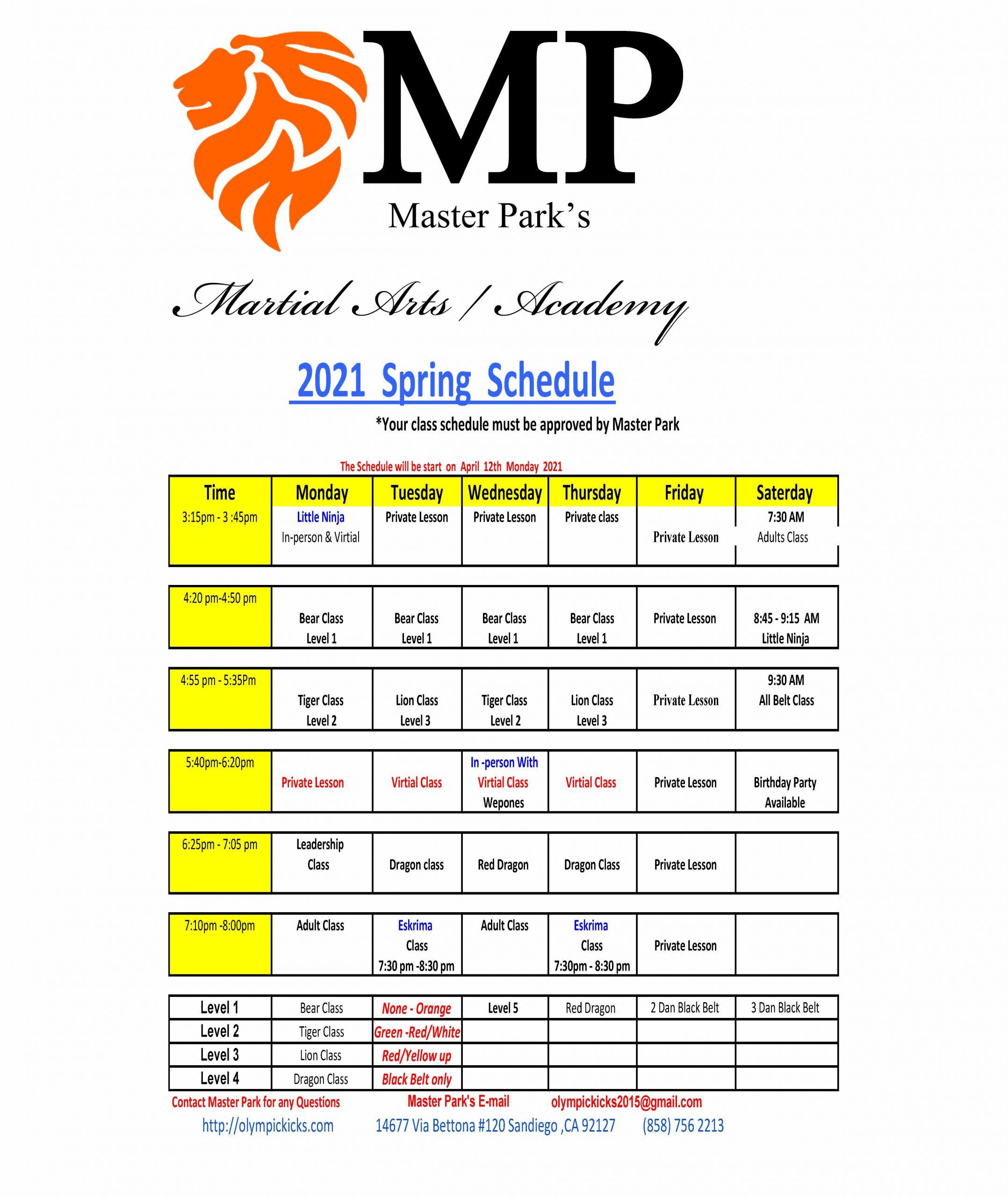 _Spring schedule April to June 2021xlsx - Sheet1
